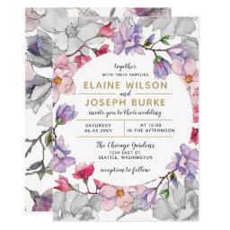 Watercolor floral garden spring wedding invitations