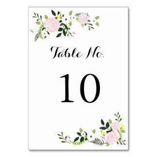 Floral Garden Table Number Card -white