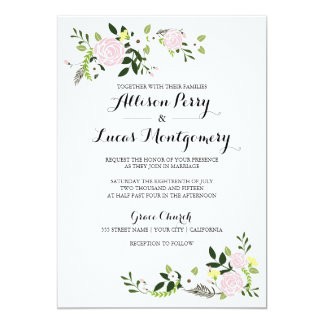 Floral Garden Wedding Invitation - white