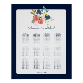 Floral Garden Wedding Reception Seating Chart Poster