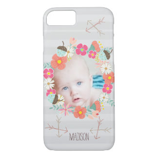Floral Garland Acorns Arrows New Baby Photo iPhone 7 Case