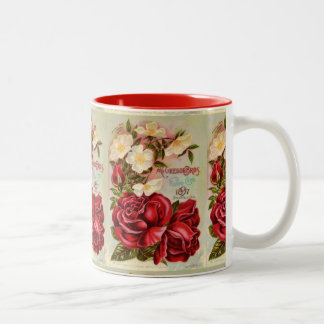 Floral Gem Roses Vintage Flower Catalog Cover Two-Tone Coffee Mug