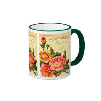 Floral Gems Roses Vintage Seed Catalog Cover Ringer Coffee Mug