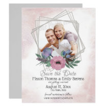 Floral Geometric Save the Date Card