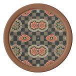 Floral geométrico del vintage en controles juego de fichas de póquer