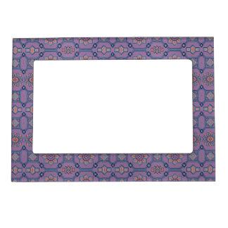 Floral geométrico del vintage en naranja púrpura p marcos magnéticos de fotos