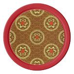 Floral geométrico del vintage en oro fichas de póquer