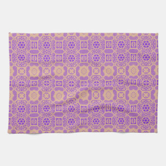 Floral geométrico en púrpura y naranja toallas
