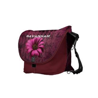 Floral Gerber Grunge Distressed Argyle Pattern Messenger Bag