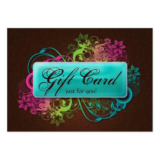 Floral gift card garden blue brown linen zazzle for Gardening gift vouchers