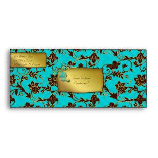 Floral Gift Certificate Elegant Blue Brown Envelope