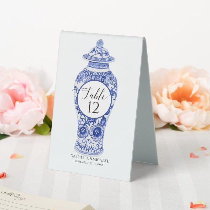 Floral Ginger Jar Blue White Chinoiserie Wedding Table Tent Sign
