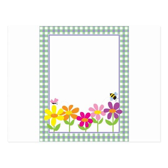 Floral Gingham Background Postcard