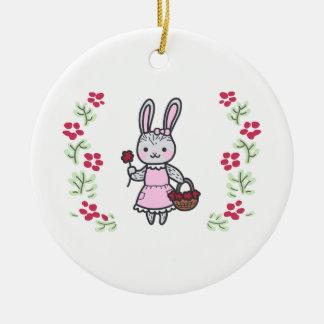 Floral Girl Bunny Ceramic Ornament