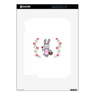 Floral Girl Bunny Decal For iPad 2
