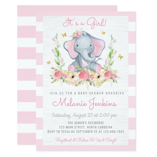 Floral Girl Elephant Baby Shower Invitation