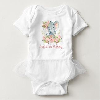 Floral Girl Elephant Bodysuit 1st Birthday Party