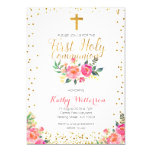 Floral Girl First Holy Communion Invitation at Zazzle