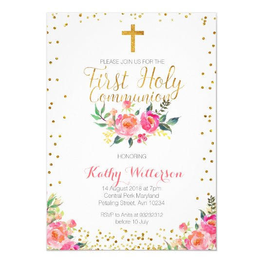 Floral Girl First Holy Communion Invitation Zazzlecom