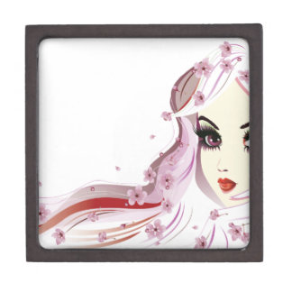 Floral Girl with White Hair Keepsake Box