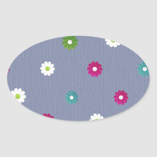 Floral,girly,cute,trendy,blue,modern,jean blue oval sticker