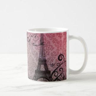 Floral girly elegant Eiffel Tower vintage Paris Classic White Coffee Mug
