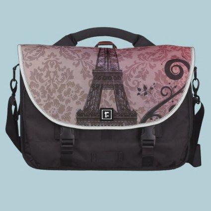 Floral girly elegant Eiffel Tower vintage Paris Laptop Bags