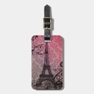 Floral girly elegant Eiffel Tower vintage Paris Bag Tag