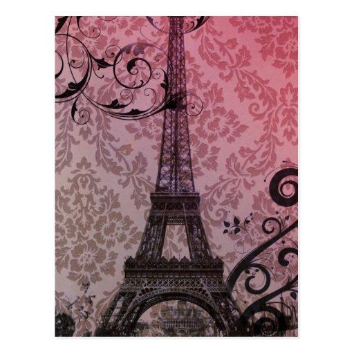 Floral girly elegant Eiffel Tower vintage Paris Postcards