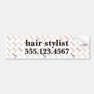 Floral girly scissors colorful hair stylist flower bumper sticker