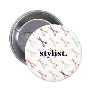 Floral girly scissors colorful hair stylist flower button