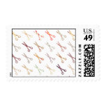 Floral girly scissors colorful hair stylist flower postage stamp
