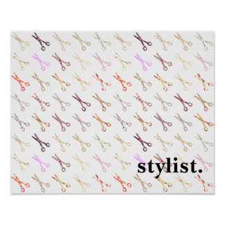 Floral girly scissors colorful hair stylist flower poster