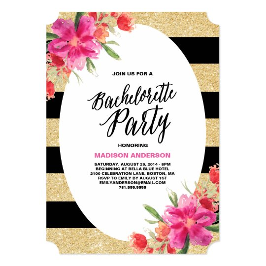 floral glam bachelorette party invitation zazzle com