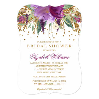 Floral Glitter Amethyst Bridal Shower Card