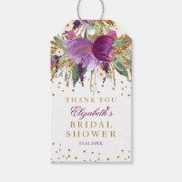 Floral Glitter Amethyst Bridal Shower Favor Tags