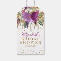 Floral Glitter Amethyst Bridal Shower Gift Tags