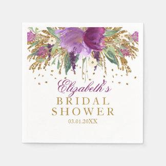 Floral Glitter Amethyst Bridal Shower Napkins