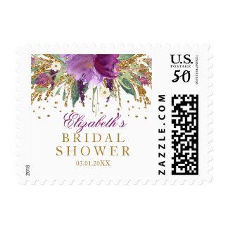 Floral Glitter Amethyst Bridal Shower Stamp