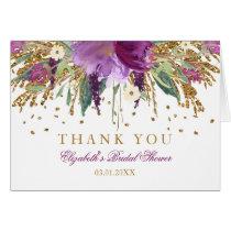 Floral Glitter Amethyst Bridal Shower Thank You