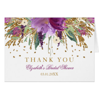 Floral Glitter Amethyst Bridal Shower Thank You Card