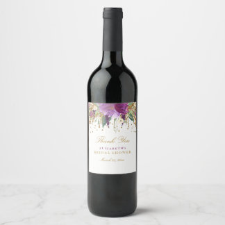 Floral Glitter Amethyst Bridal Shower Wine Label
