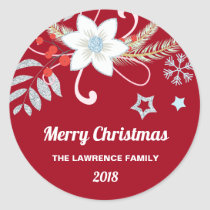 Floral Glitter Snowflakes Red Christmas Classic Round Sticker