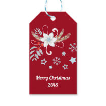 Floral Glitter Snowflakes Red Christmas Gift Tags