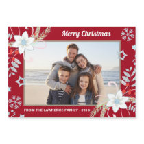 Floral Glitter Snowflakes Red Christmas Photo