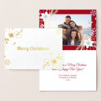 Floral Glitter Snowflakes Red Christmas Photo Foil Card