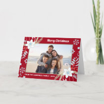 Floral Glitter Snowflakes Red Christmas Photo Holiday Card