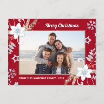 Floral Glitter Snowflakes Red Christmas Photo Holiday Postcard