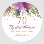 """Floral Glitter Sparkling Amethyst 70th Birthday Classic Round Sticker<br><div class=""""desc"""">Matching Birthday Collection in the Little Bayleigh store. We have used artwork from: www.createthecut.com</div>"""