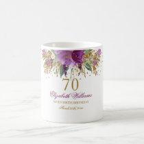 Floral Glitter Sparkling Amethyst 70th Birthday Coffee Mug